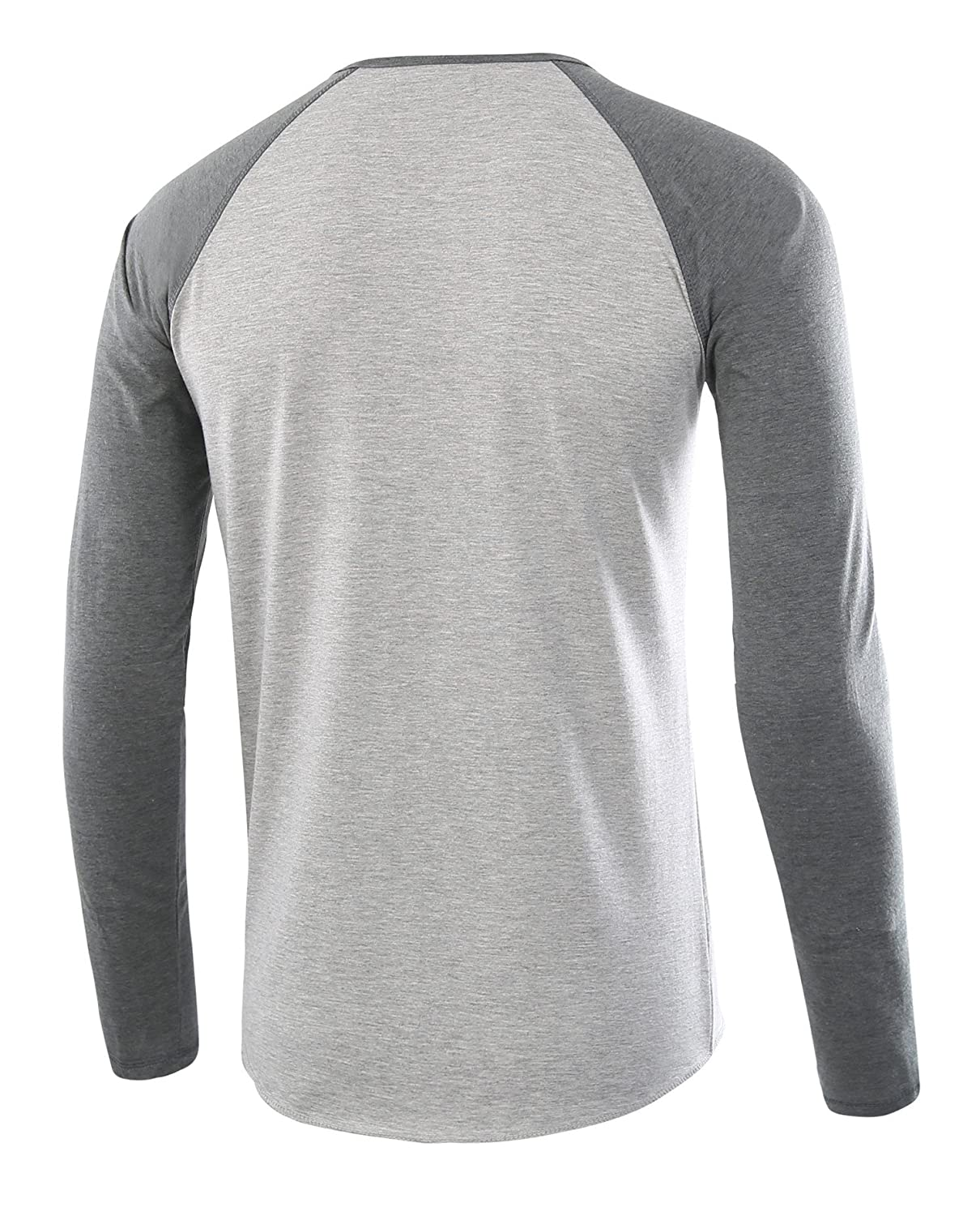 95ca8bf7 HARBETH Men's Casual Long Sleeve Henley Shirt Raglan Fit Baseball T-Shirts  Tee H.Gray/S.Green L: Amazon.in: Clothing & Accessories