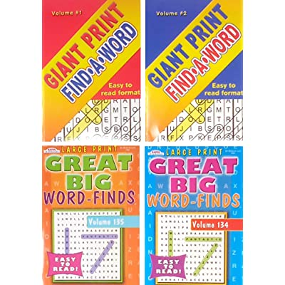 Word Find Puzzle Books For Adults Pack of 4 Large Print Full Size Puzzles (titles may vary: Toys & Games