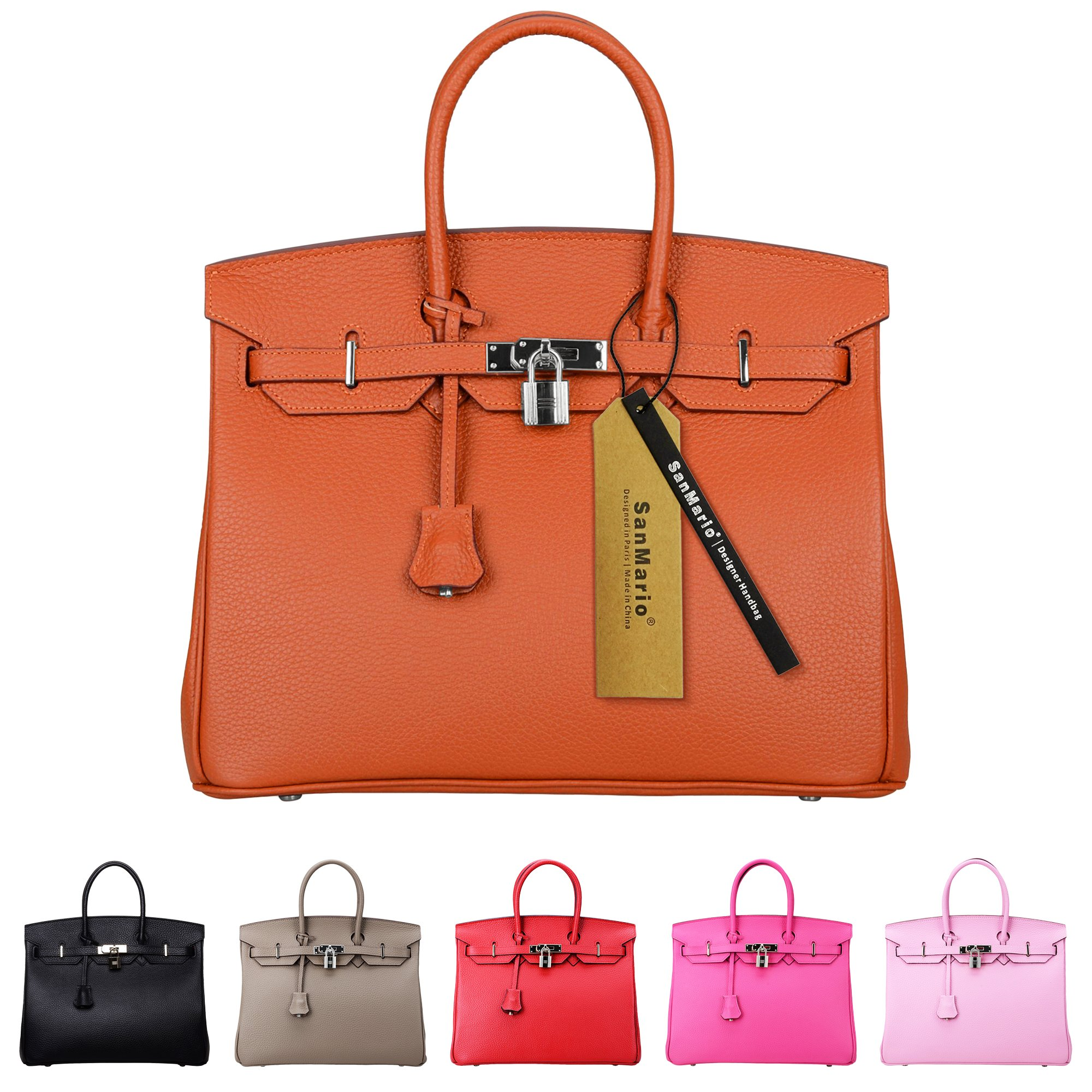 SanMario Designer Handbag Top Handle Padlock Women's Leather Bag with Silver Hardware Orange 35cm/14''