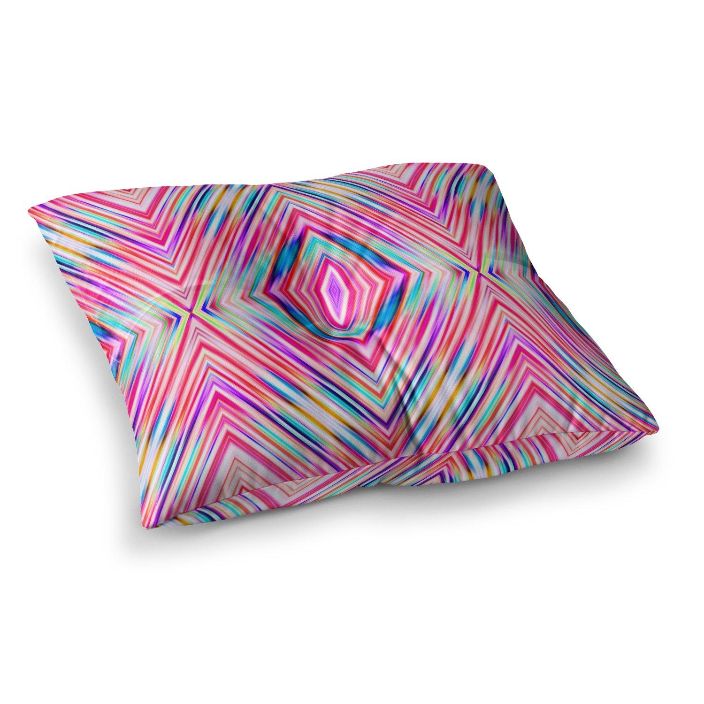 23 x 23 Square Floor Pillow Kess InHouse Dawid ROC Pink Modern Tribal Ethnic Ikat Teal Geometric