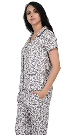 b925e7d9cd Artemis Ditsy Floral Printed Classic Cotton Pajama Set White. Roll over  image to zoom in