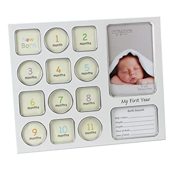 Amazon.com : Impressions Juliana 2Tone My 1St Year Data Frame : Baby
