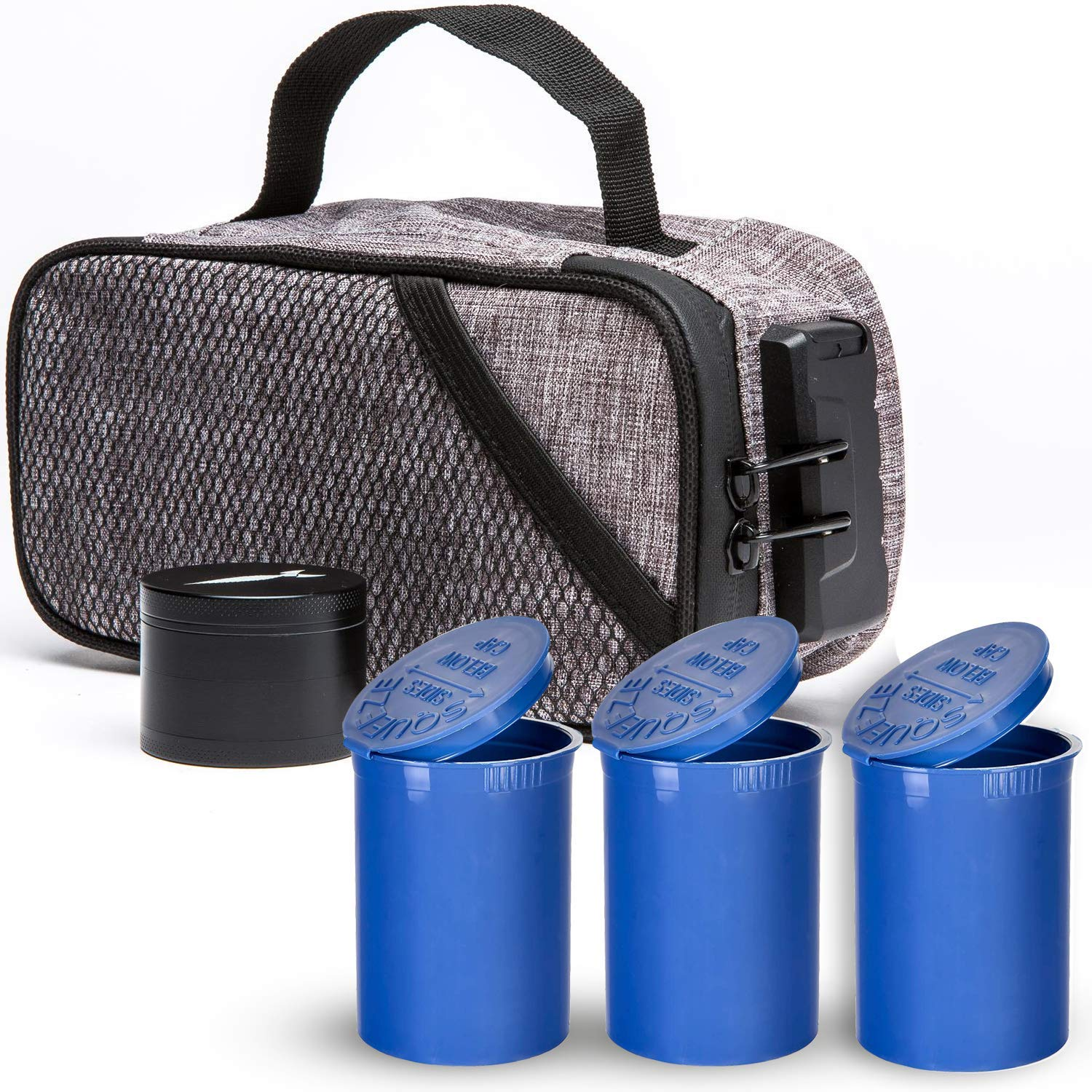 Stash Man Smell Proof Case with Lock - Activated Carbon Lining - Includes 3 Airtight Pop Tubes & 4 Part Grinder - Odor Resistant Travel Storage - Perfect for Dry Herb, Medicinal, Lighter & Accessories