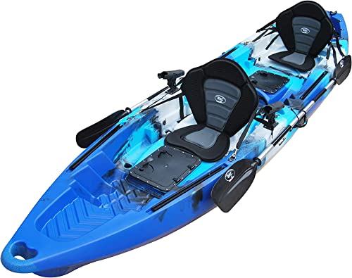 BKC TK122 12.9 Tandem Fishing Kayak W Premium Memory Foam Padded Seats, Paddles, 4 Rod Holders Included 2-3 Person Angler Kayak