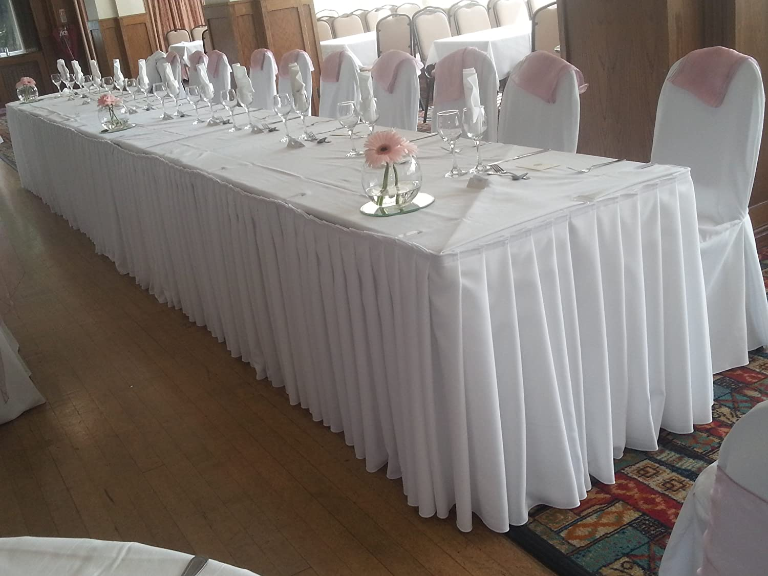 White pleated polyester top tablebuffet table skirt 24 ft 10 clips white pleated polyester top tablebuffet table skirt 24 ft 10 clips inc amazon toys games watchthetrailerfo