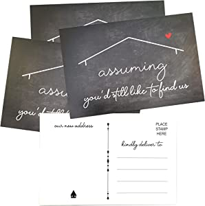 RXBC2011 We've Moved Postcards Chalkboard Moving Announcement Cards Just Moved Change of Address New Home Postcards Pack of 50