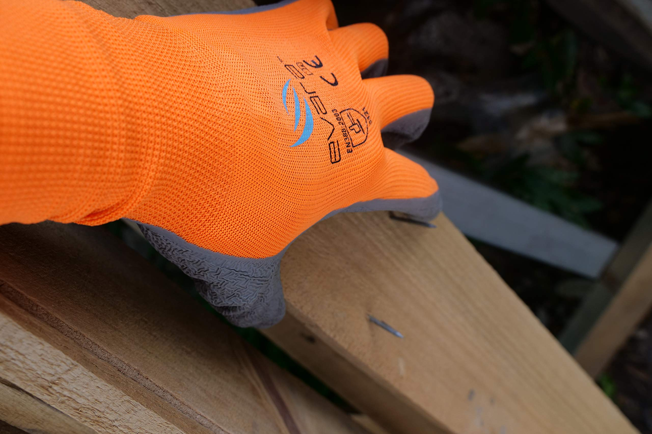 Tough Work and Gardening Gloves for Men and Women(12 pairs per pack) (Latex, Medium) Supreme Hi-vis orange with full thumb dipping by Evara by Evara (Image #5)