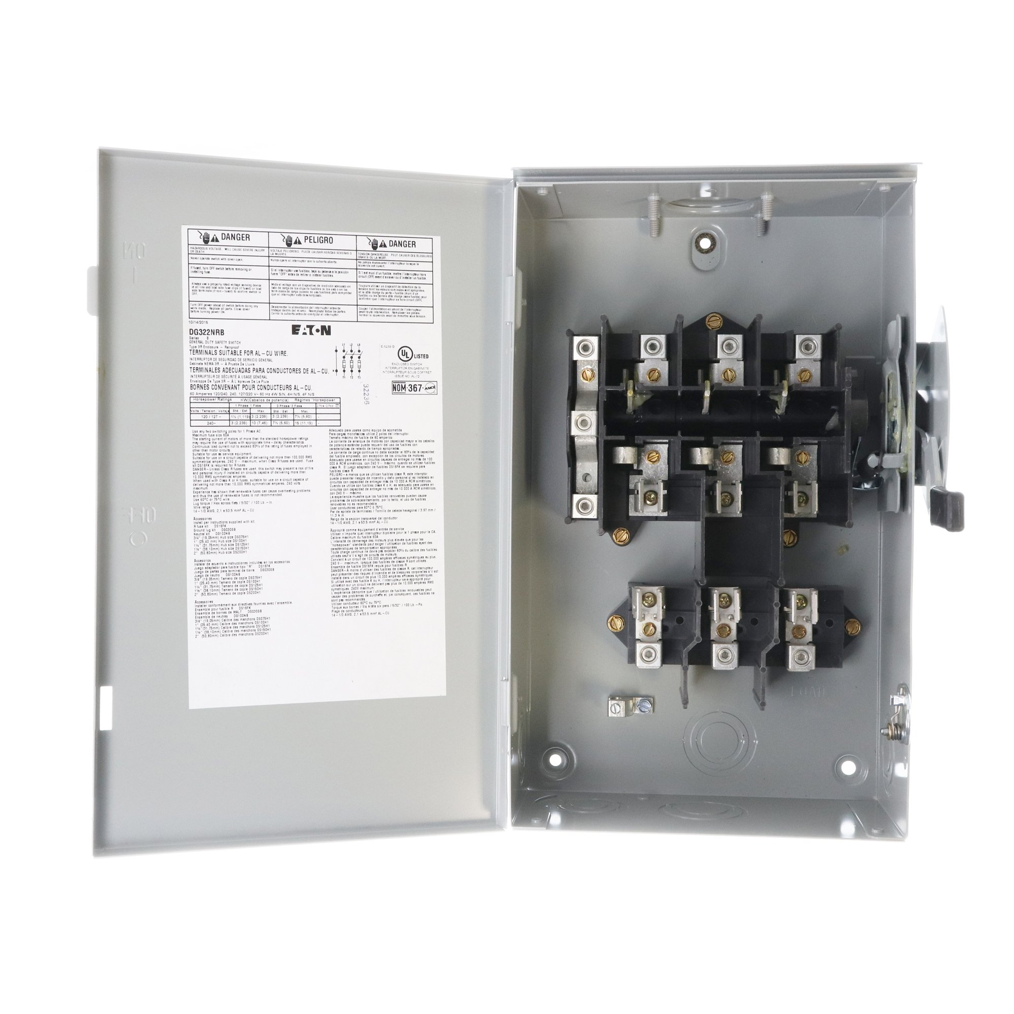 Eaton DG322NRB 4 Wire 3 Pole Fusible B Series General-Duty Safety Switch 240 Volt AC 60 Amp NEMA 3R by Eaton (Image #2)