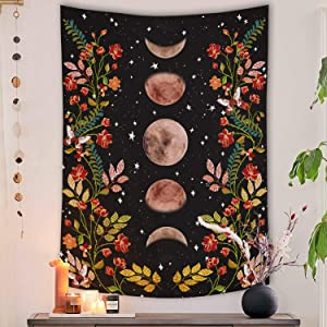 Lifeel Moonlit Garden Tapestry, Moon Phase Surrounded by Vines and Flowers Black Wall Decor Tapestry 36×48 inches