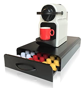 Soporte y cajonera para cápsulas de café Nespresso de CAFE CONCETTO, este soporte y cajonera puede contener hasta 60 capsulas, diseño antivibraciones, ...
