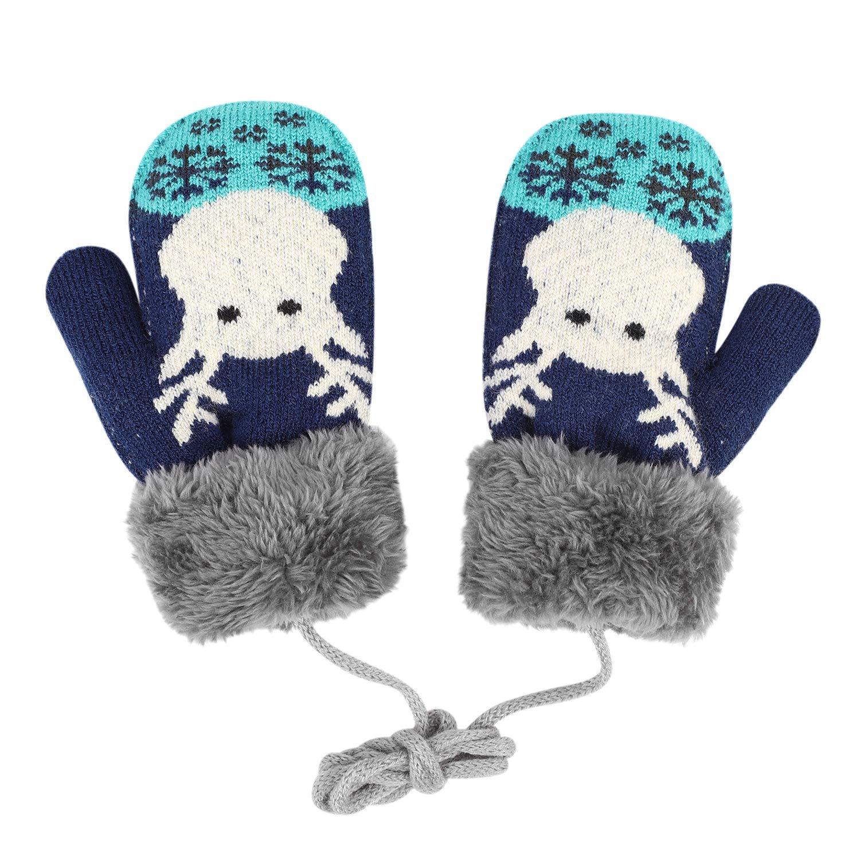 IBLUELOVER Gants Enfant Moufles Hiver Gant de Ski Gants en Tricot Gloves Motif Faon Gants Chauds Doublure Polaire Gar/çons Filles Gants avec la Corde Tour du Cou Cadeau No/ël 2-6 Ans