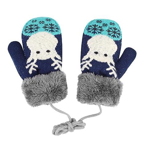 Gants Enfant Moufles Hiver Gant de Ski Gants en Tricot Gloves Motif Faon  Gants Chauds Doublure 0e6ae761323