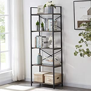 OIAHOMY Industrial Bookshelf, 5-Tier Bookcase and Bookshelves, Vintage Bookshelf with Metal Frame, Rustic Organizer Shelving Unit, Multipurpose Storage Display Rack for Home and Office - Oak Grey
