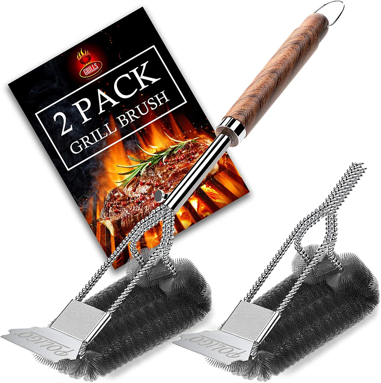 POLIGO 2 Pack Safe BBQ Grill Brush and Scraper, Heavy Duty Stainless Steel Grill Cleaning Kit with Extra Brush Head, Woven Wire Bristle Grilling Cleaner Accessories for Gas, Charcoal, Grill Grates: Kitchen & Dining