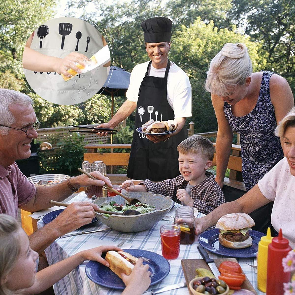 Tabliers pour Cuisine Familial Restaurant Cuisine Barbecue Jardin Caf/é Chef Serveurs Noir Blanc Vockvic 2 pcs Unisexe Chefs Cuisine Tablier /Étanche avec Poches