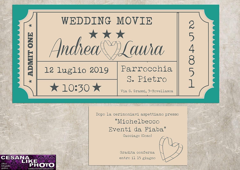 Partecipazioni Matrimonio Tema Cinema.Partecipazioni Matrimonio Personalizzate Inviti Nozze Biglietto