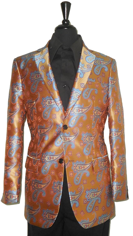 Leonardi 855 Men Copper Dark Gold Intricately Woven Jacquard Sports Coat Jacket