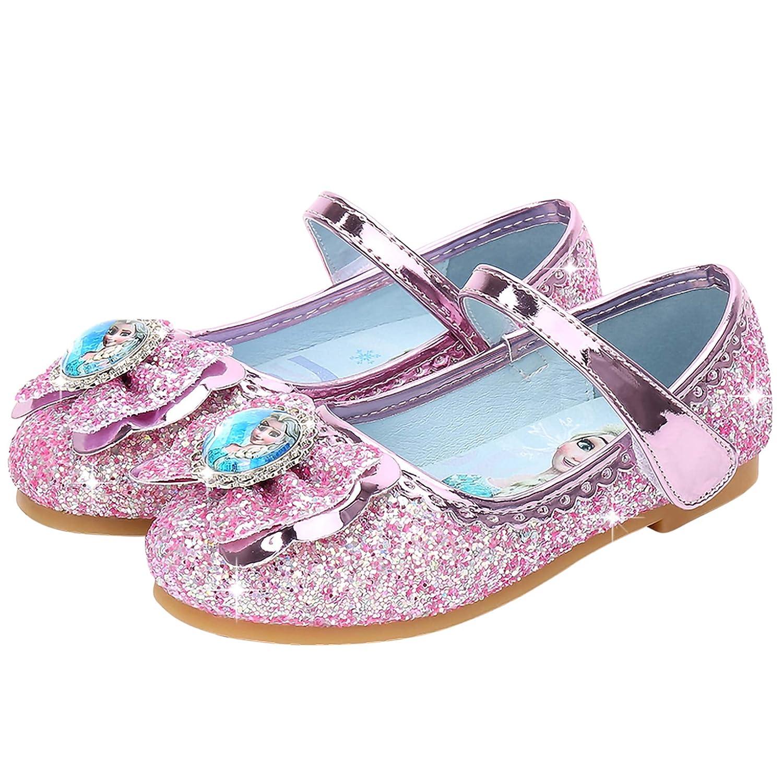 New front Ni/ñas Bailarina Zapatos de Elsa Ni/ños Princesa Disfraz Zapatos Frozen Reina de Hielo Fiesta Brillando Sandalias Planos Festivo Verano Zapatilla Ballet Cosplay Danza Boda Carnaval EU 22-36