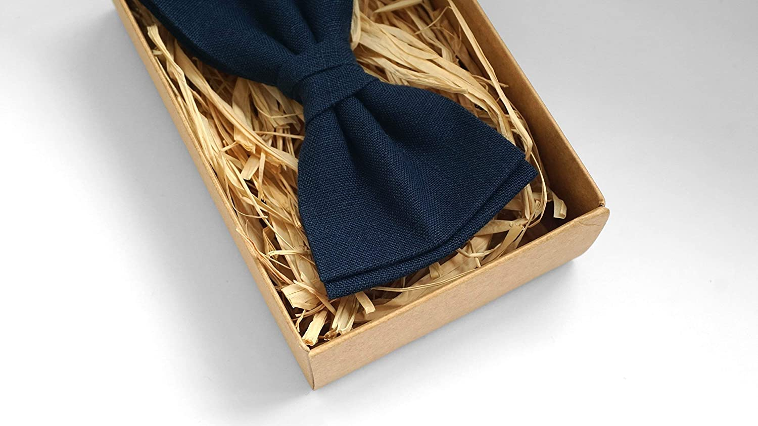 Dark Blue pre tied bow ties for you wedding party | Linen pre tied bow ties for you grooms - wedding ties and pocket squares