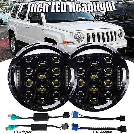 7 pulgadas 75 W LED Faro redondo 6000 K Cool Blanco DRL Hi/lo Beam