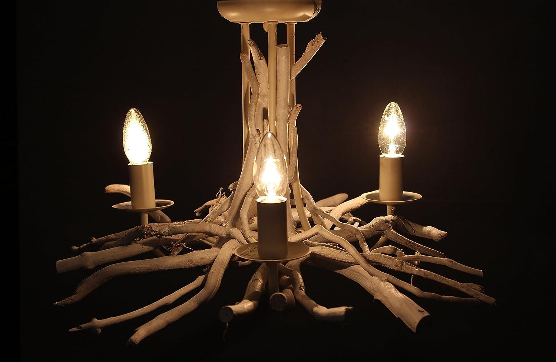 White washed Driftwood Chandelier 3 light, White Washed Drift Wood Pendant light