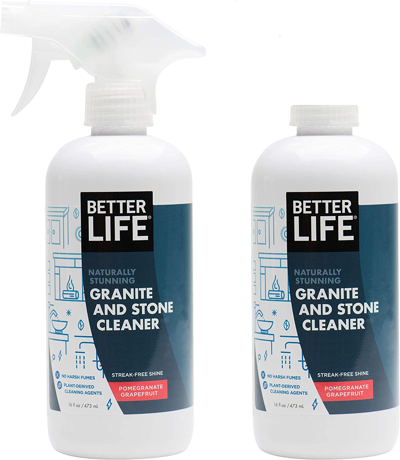 Better Life Natural Granite and Stone Cleaner, Pomegranate Grapefruit, 16 Ounces (Pack of 2)