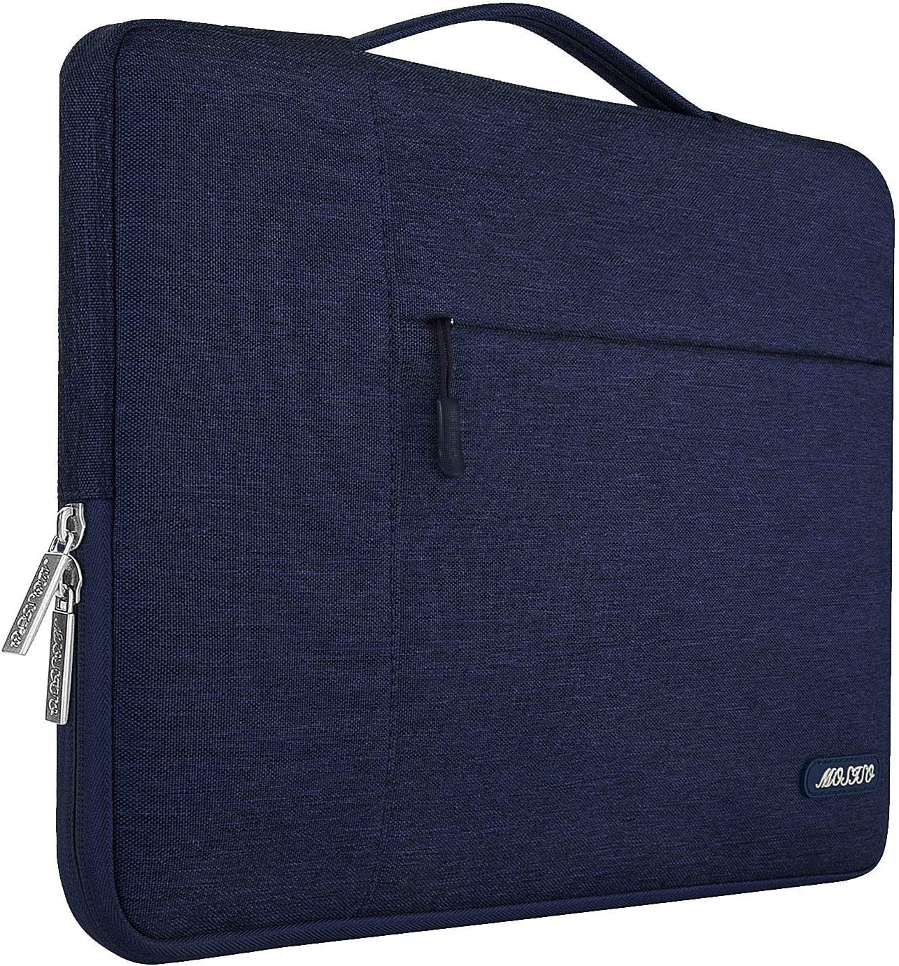 MOSISO Laptop Sleeve Compatible with 13-13.3 inch MacBook Air, MacBook Pro, Notebook Computer, Polyester Multifunctional Briefcase Carrying Bag, Navy Blue