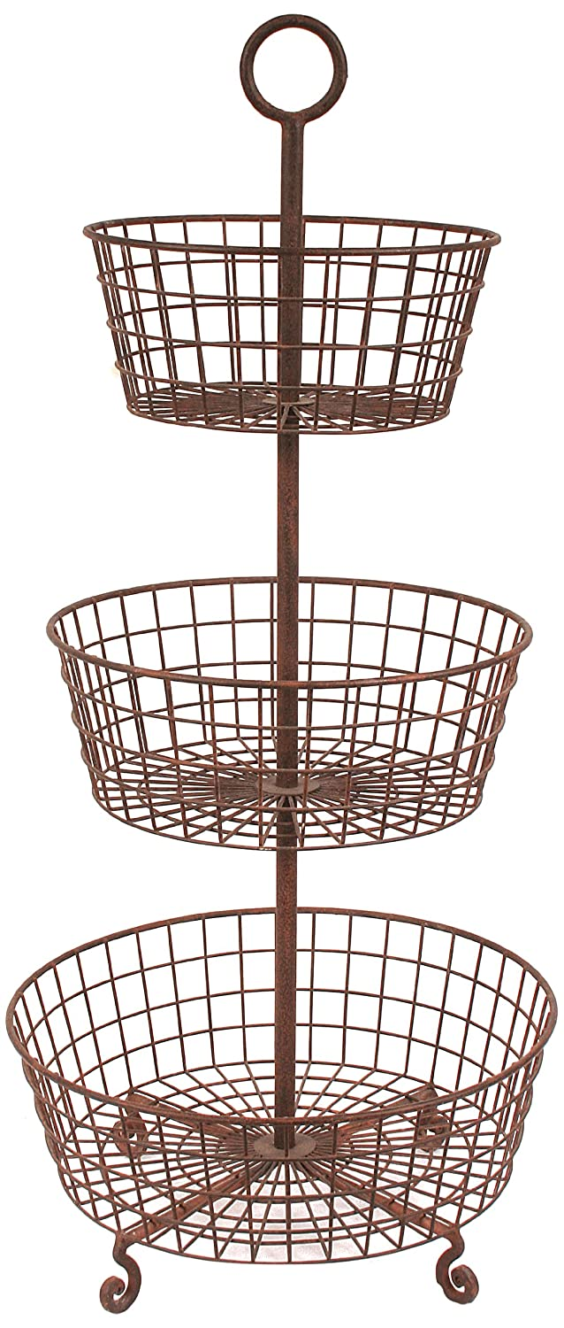 Amazon.com: Creative Co-Op Rust Metal 3-Tier Basket: Home & Kitchen