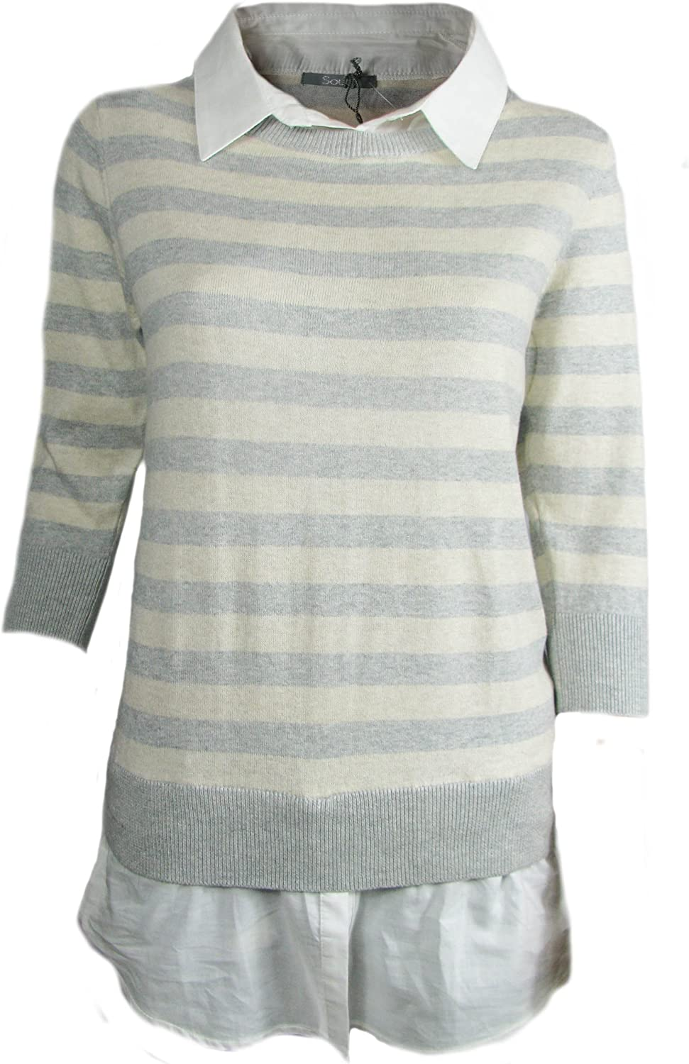 TopsandDresses Womens Striped Jumpers with Sewn in Shirt in 2 Colours Pink Stripe or Cream in Ladies Sizes Grey 18