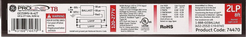 120-277V General Electric GE259MV-N-42T 2-Lamp Electronic Ballast 50//60Hz