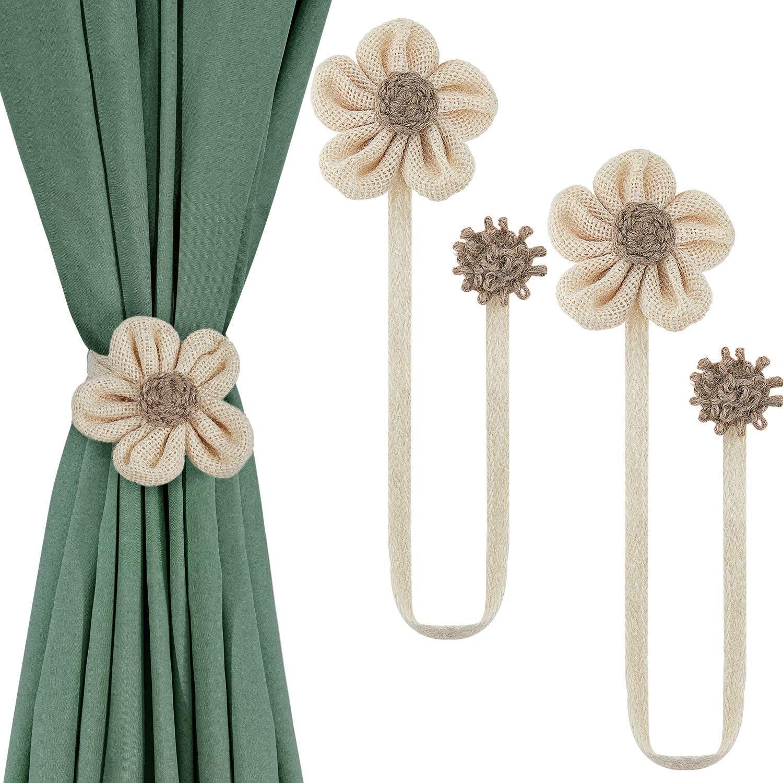 Window Curtain Tiebacks Flower Buckle Rope Strap Holdbacks Curtain Decoration