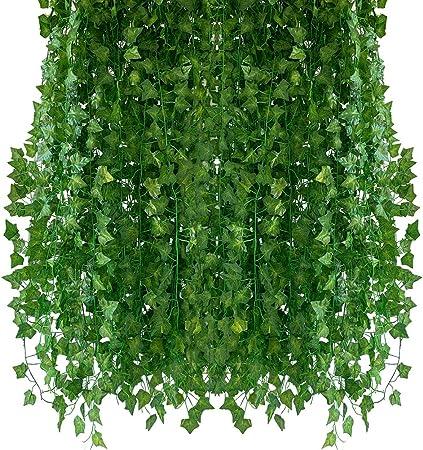 Homvik Plantas Hiedras Enredaderas Artificiales 24Pcsx2.2m Plantas Colgantes Artificiales Guirnalda para Decoración Exterior Boda Hogar Seto Jardín Escalera Ventana Balcón Valla Mesa Fiesta Interior: Amazon.es: Hogar