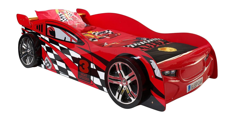 VIPACK SCNS200R Autobett Night Speeder, circa 229 x 60 x 110 cm, Liegefläche 90 x 200 cm, lackiert aufgedruckte Rennwagen-Optik, rot
