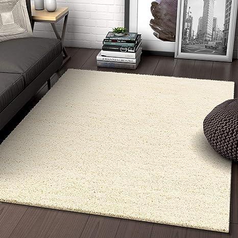 Solid Retro Modern Ivory Off-White Shag 3x5 ( 3\'3\'\' x 5\'3\'\' ) Area Rug  Plain Plush Easy Care Thick Soft Plush Living Room Kids Bedroom