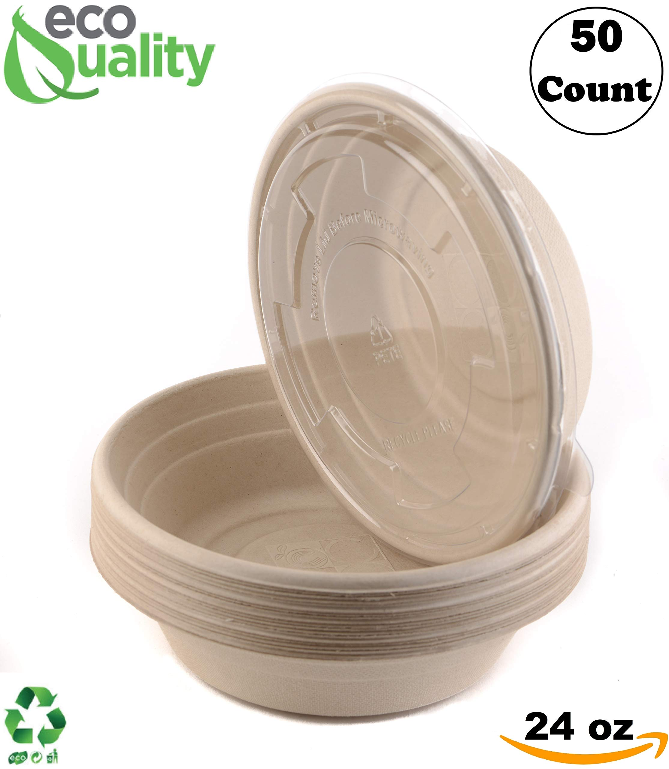 50 Count - EcoQuality 24oz Round Disposable Bowls with Lids Natural Sugarcane Bagasse Bamboo Fibers Sturdy Compostable Eco Friendly Environmental Paper Plastic Bowl Alternative Tree Free