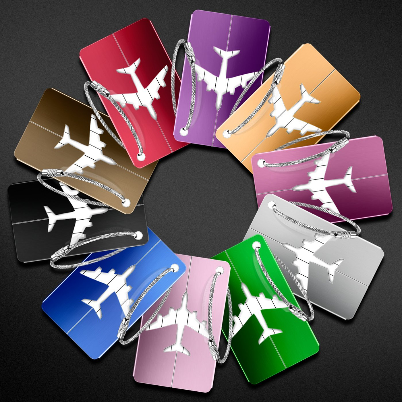 Luggage Tags 10pcs,Baggage Tags Tag Labels with Business Card Holder(10 colors) by Yosemy (Image #8)