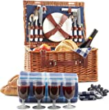 VonShef Deluxe 4 Person Traditional Wicker Picnic Basket Hamper with Cutlery, Plates, Glasses, Tableware & Fleece Picnic Blanket