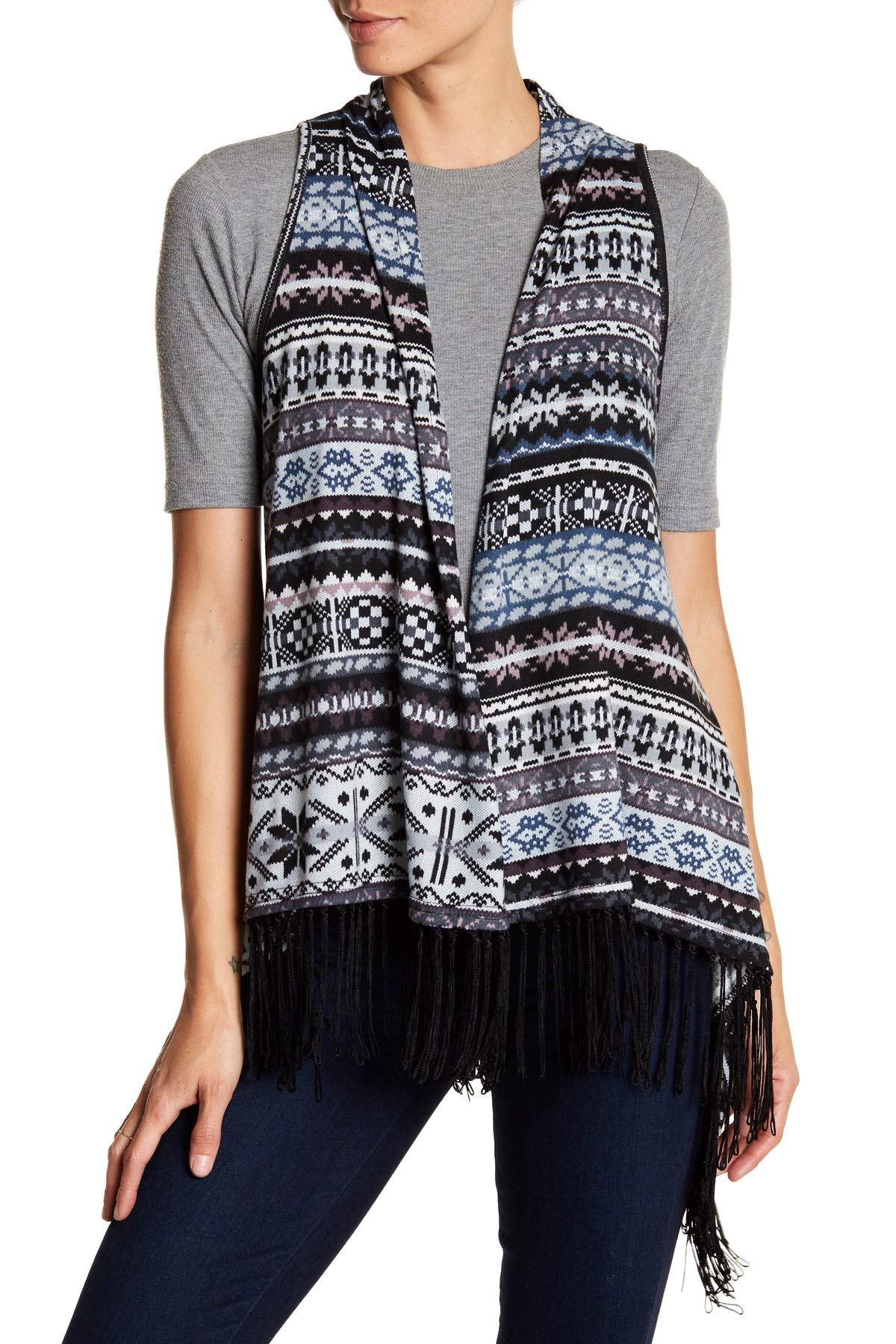 Papillon Fairisle Open Fringe Cardigan Vest for Women in Grey Print, Small