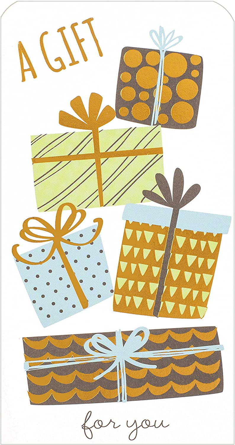 "Money Wallet Gift Card & Envelope - Big Blue, Green & Bronze Presents 7"" x 3.5"" Cards Galore Online"