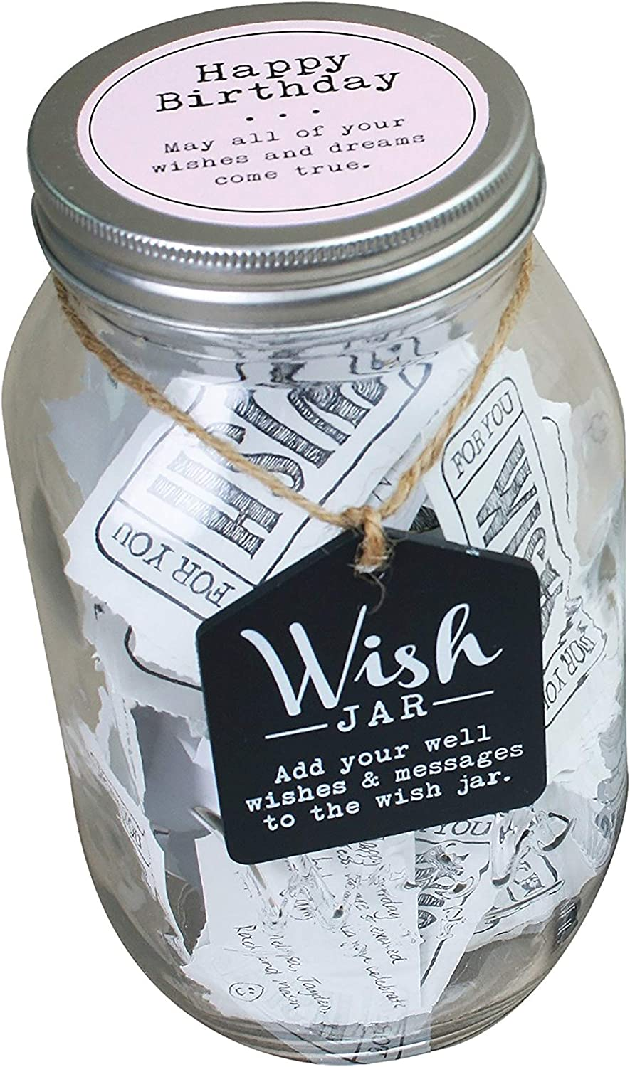 TOP SHELF Pink Happy Birthday Wish Jar ; Keepsake Gift for Her ; Unique and Thoughtful Gift Ideas for Mother, Grandma, Daughter, and Best Friend ; Kit Comes with 100 Tickets and Decorative Lid