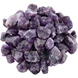 SUNYIK Natural Raw Stones Rough Rock Crystals for Tumbling,Cabbing,Amethyst Quartz,1pound(about 460 gram)