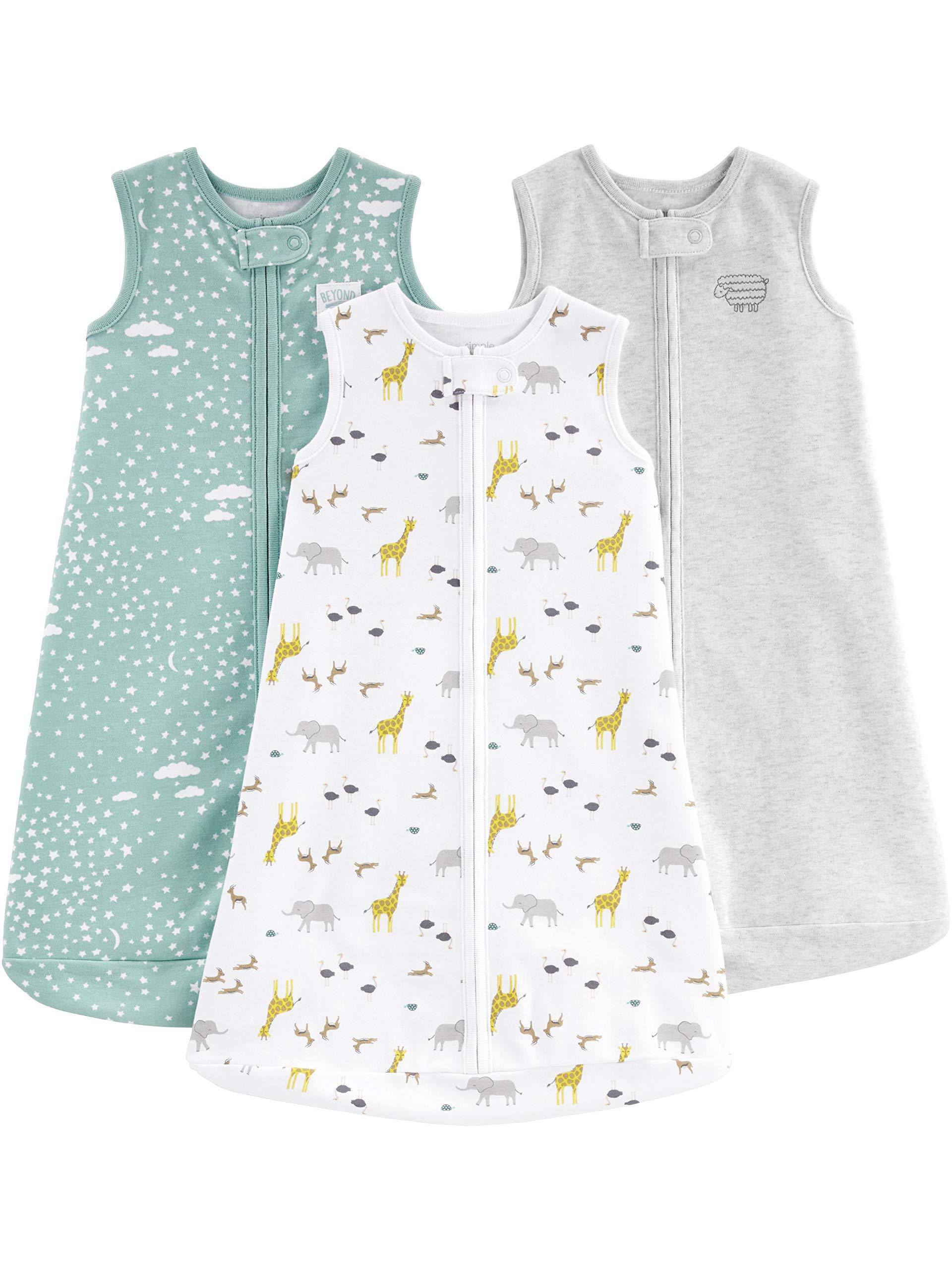 Simple Joys by Carter's Baby 3-Pack Cotton Sleeveless Sleepbag Wearable Blanket, Grey/Mint/Animals Green, Medium: 6-9 Months, 12.5-21 lbs
