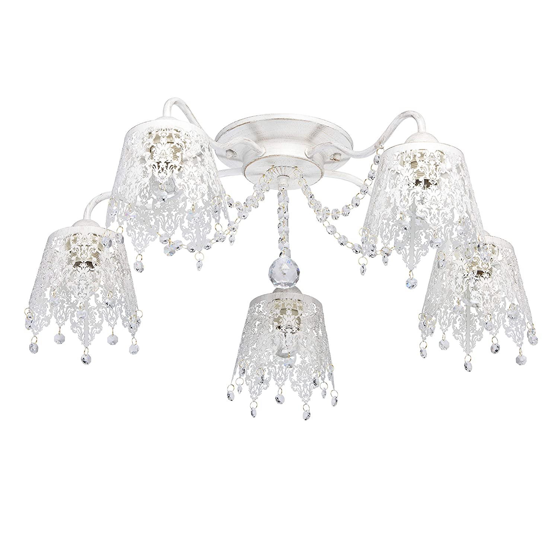MW-Light 472011205 Shabby Chic Deckenlampe Weiß 5 Flammig Metall Wohnzimmer E27
