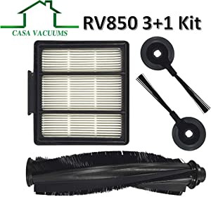 Casa Vacuums 3+1 PK Replacement for Shark ION Robot S87 R85 RV850 RV850BRN, RV850WV, RV851WV, RV700_N, RV720_N, RV750_N Vacuum Cleaner. 1 Main Brush Roller + 2 Side Brushes + 1 Hepa Filter