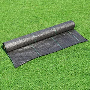 WarmShe Premium Pro Garden Weed Barrier Control Fabric,125gsm Black Landscape Nonwoven,for Flower Bed, Mulch, Garden Stakes or Any Heavy Duty Outdoor Project, Ultra Thick,4FTX100FT.