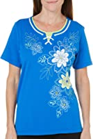 Alfred Dunner Petites' Floral Embroidered Lace Up Top