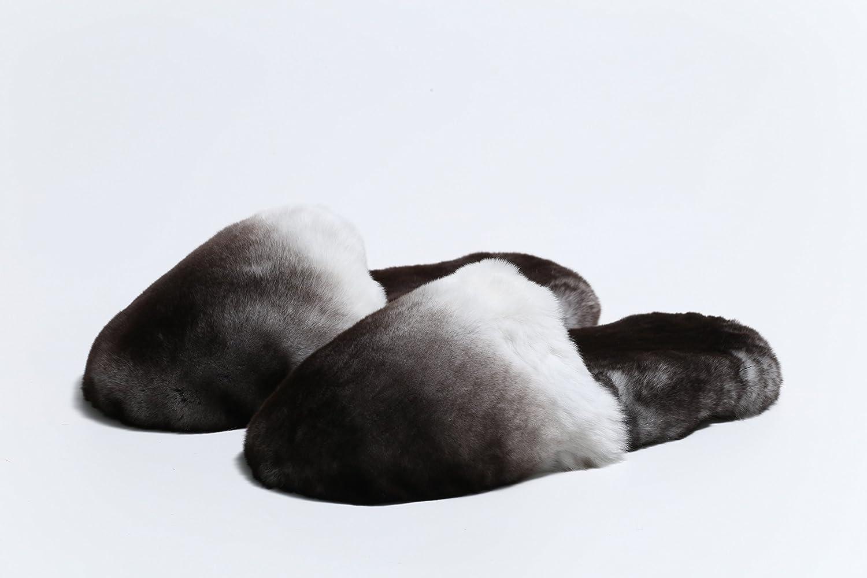 Pantoufles femme en fourrure d'Orylag gris naturel et blanc, fait à la main, made in Italy par Gonzato Moda fait à la main
