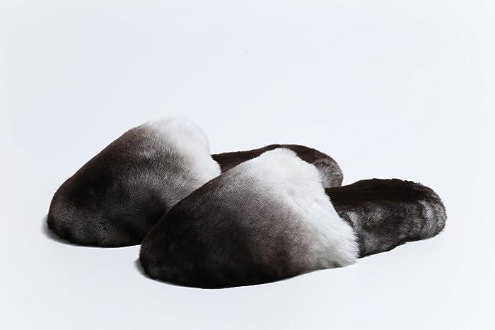 Zapatillas de casa para mujer en en piel Orylag, pantuflas grises y blancas, hechas