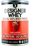 Designer Protein 100% Premium Whey Protein Powder, Summer Strawberry, 12-Ounce Canister (Pack of 2)