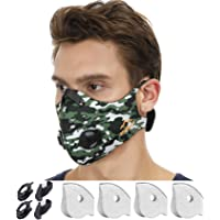 N99 Dust Mask by NHForest | 4 Activated Carbon N99 Filters & 2 Air Valves | Dust-proof Respirator Face Mask | Protects from Dust, Allergy and Pollution | Woodwork & Winter Outdoor Activities